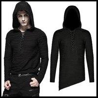 PUNK RAVE Men Punk Rock Stripe Knitted Shirt Irregular Long Sleeve Hooded T Shirts Personality Men Streetwear Tops Tees
