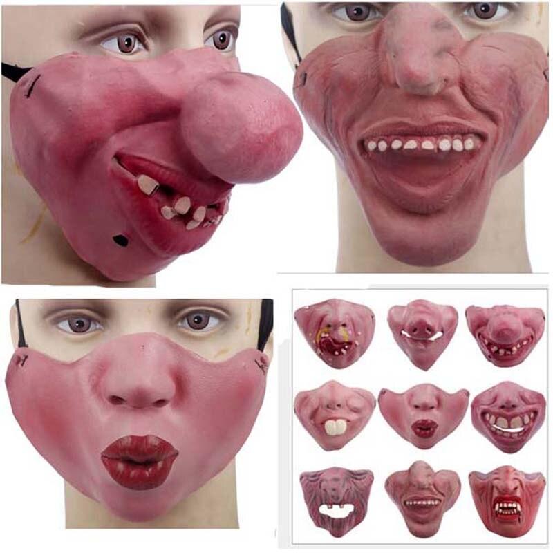 Adult Women Men Scary Clown Latex Mask Joy Cosplay Props Humorous Elastic Band Half Face  Party Halloween Latex Masks