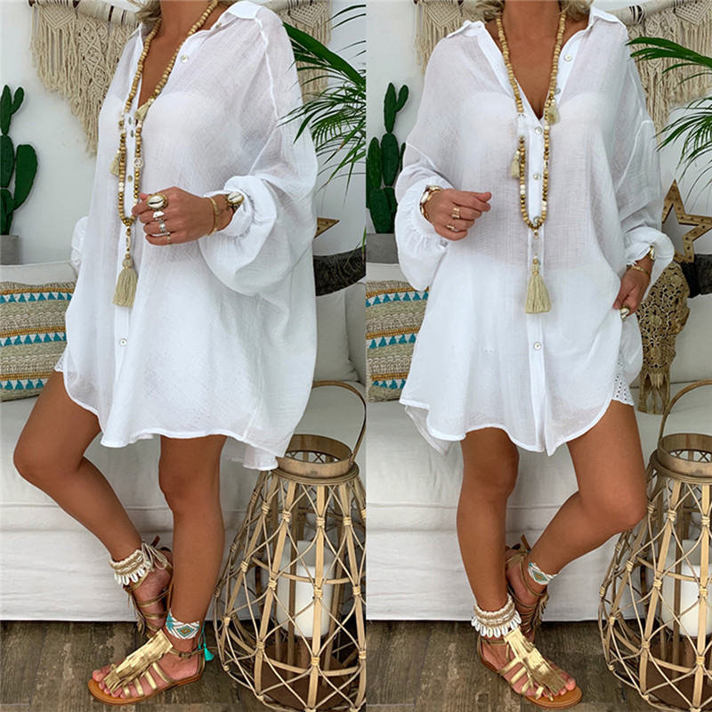 2020 Women Cardigan Button Shirts Beach Outerwear Blusas Summer Beach Lace Blouse Crochet Sexy V-neck Blouses Ropa Mujer