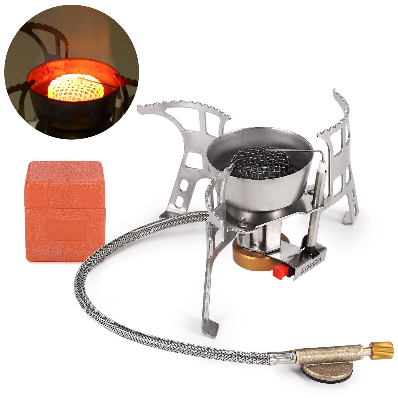 Складная газовая плита Lixada для кемпинга, ветрозащитная печи с пьезозажиганием, туристическая портативная плита для приготовления пищи на о...
