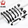 KAK американский стиль черный шкаф ручки Твердый алюминиевый сплав кухонный шкаф ручки для выдвижных ящиков оборудование для обработки мебе...