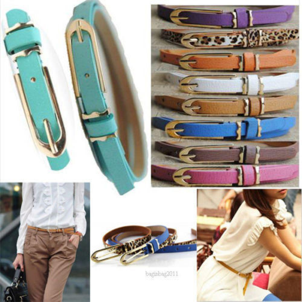 Fashion Women Lady Multicolor Waistband PU Leather Thin Skinny Belt Buckle Waist High Quality Narrow Waistband