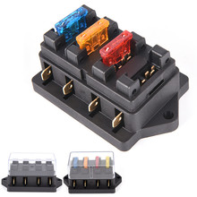 Car 4 Way Circuit Standard ATO Blade Fuse Box Block Holder 12V/24V+4 Way Fuse