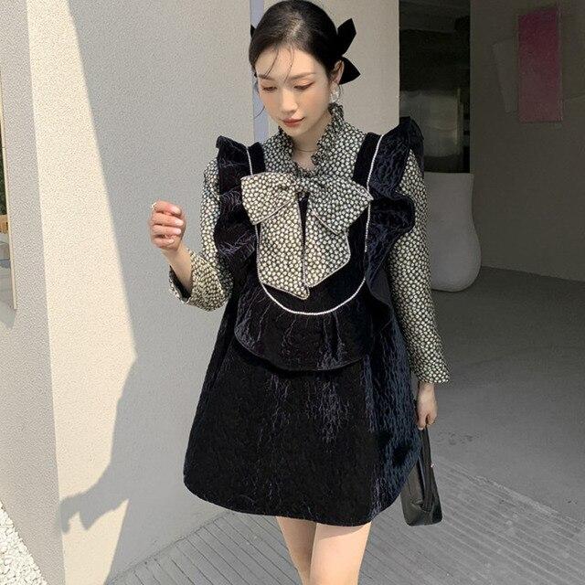LANMREM Black Beige Big Flower Dress Half High Neck Bow Decoration High Waist Printed Cute Dresses Female 2021 New 2A8015 3