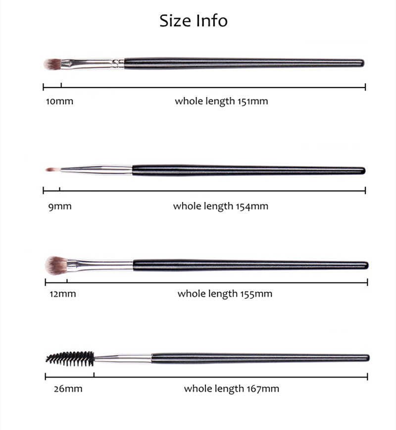 4Pcs Rinci Eye Makeup Brushes Set Rambut Sintetis Eyeshadow Eyeliner Sikat Bulu Mata Alat Sikat Maskara Wands