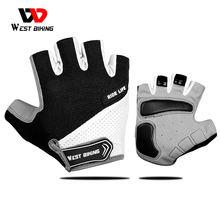 WEST vélo respirant demi-doigt gants de cyclisme anti-dérapant moto vtt route vélo gants hommes femmes sport vélo gants