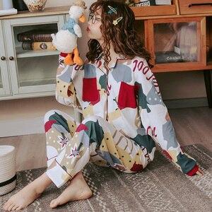 Image 2 - BZEL Neue Herbst Winter Nachtwäsche 2 Stück Sets Für frauen Baumwolle Pyjamas drehen unten Kragen Homewear Große Größe pijama Pyjama XXXL