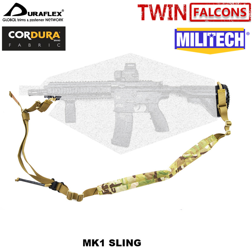 MILITECH TWINFALCONS TW 500D Cordura Two 2 Point VK Padded Weapon Sling VT AC VT-AC Quick Adjustable Hunting Rifle Gun Strap