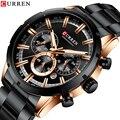 CURREN новые мужские спортивные часы Топ бренд класса люкс кварцевые мужские часы полностью стальные водонепроницаемые наручные часы с хроно...