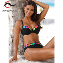 Tengweng 2019 Vintage deep v neck Halter Swimming Suit Women Summer Sexy Big Size Bikini Set Swimwear Ladies Beachwear Plus