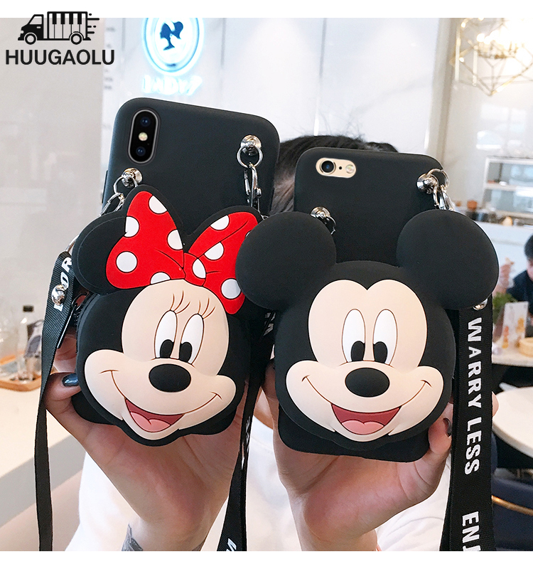 Zipper Wallet 3D Cartoon Minnie Phone Case for Xiaomi Mi A3 5X 6X A1 A2 6A 7A 8T Redmi Note 8 7 4X 5 6 Pro F1 Cover Etui Coque image