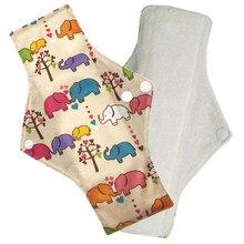 Waterproof PUL printed regular flow reusable Mama pads, super soft day use cloth menstrual pads with organic Bamboo Fiber