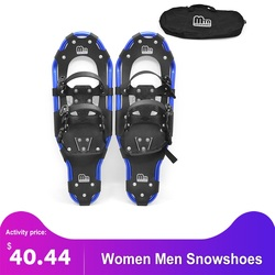 Women Men Snowshoes Aluminum Snow Shoes Snowboard Boots with Adjustable Bindings Carrying Tote Bag