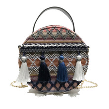 Bags for Women 2020 Ethnic Style Hand Chain Small Round Bag Tassel Crossbody Bags for Women Purses and Handbags Women Bag  Louis cute bear print and tassel design crossbody bag for women