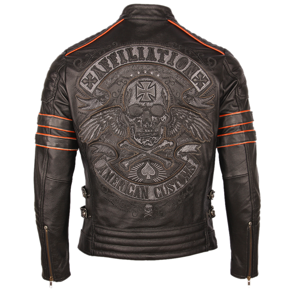 H8d5ddb17a37d4a9182d9cecc24edd8bbF Black Embroidery Skull Motorcycle Leather Jackets 100% Natural Cowhide Moto Jacket Biker Leather Coat Winter Warm Clothing M219