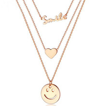 Fashion Love Heart Smiley English Letter Pendants Necklace Woman Accesories Stainless Steel Clavicle Chain Multilayer