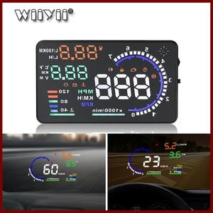 Image 1 - GEYIREN 5.5 A8 HUD Car head up display OBD II EUOBD LED Windscreen Project Alarm System on board OBD scanner Universal auto