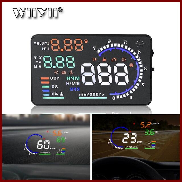 GEYIREN 5.5 A8 HUD Car head up display OBD II EUOBD LED Windscreen Project Alarm System on board OBD scanner Universal auto