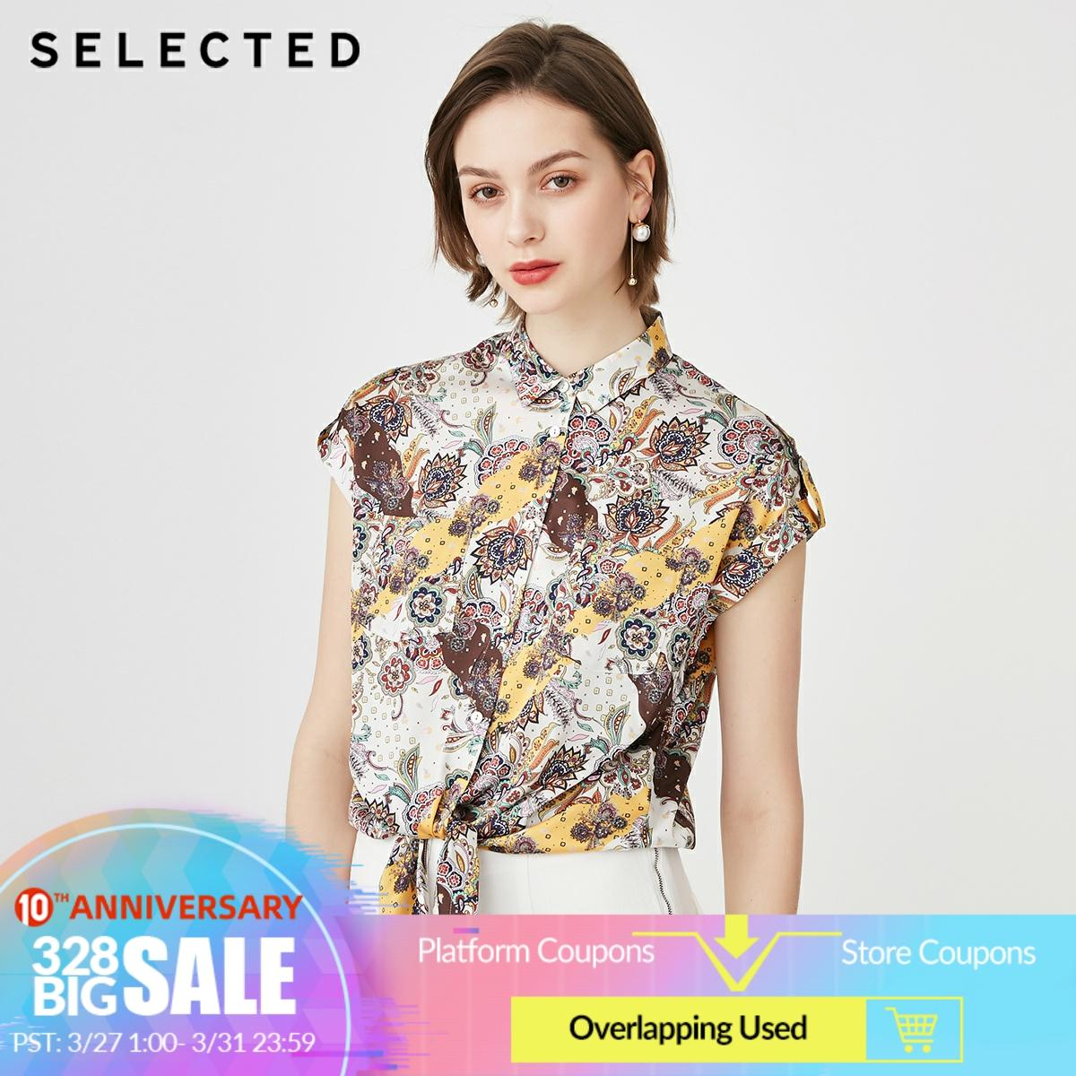 SELECTED Women's Floral Communal Ethnic Style Short-sleeved Shirt S|419204501