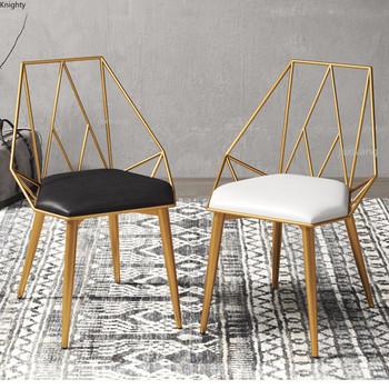 Nordic nowoczesne krzesło biurowe krzesła proste krzesło do sypialni dostosowane krzesła Cafe Art Hollow krzesło do jadalni krzesła L tanie i dobre opinie CN (pochodzenie) 800mm Jadalnia meble pokojowe 82*50*45cm Europa i ameryka Jadalnia krzesło Meble do domu Metal iron China
