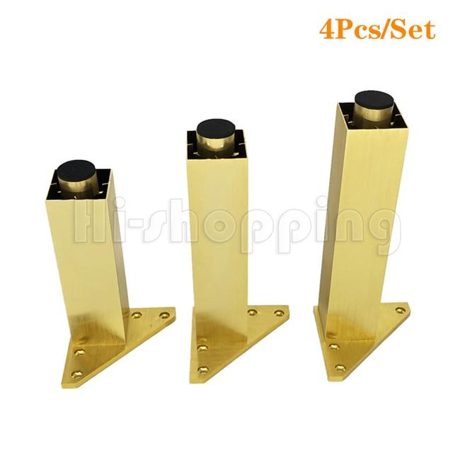 4 adet Metal mobilya ayakları fırçalanmış altın 6 8 10 12 15 18 20CM TV dolabı banyo dolabı kahve masa Dresser koltuk ayakları