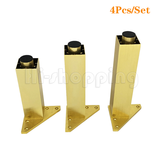 4pcs Metal Furniture Legs Brushed Gold 6 8 10 12 15 18 20CM for TV Cabinet Bathroom Cupboard coffee table Dresser Armchair feet