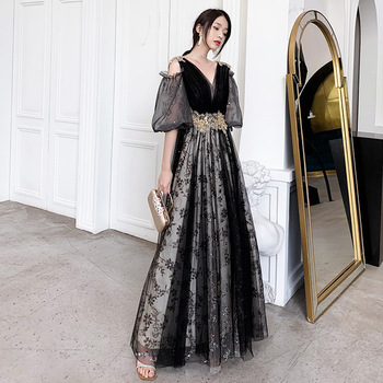 Skyyue Sequin A-Line Evening Dress R269 Puff Sleeve Banquet Dresses For Girls V-Neck Robe De Soiree Appliques Black Formal Gown