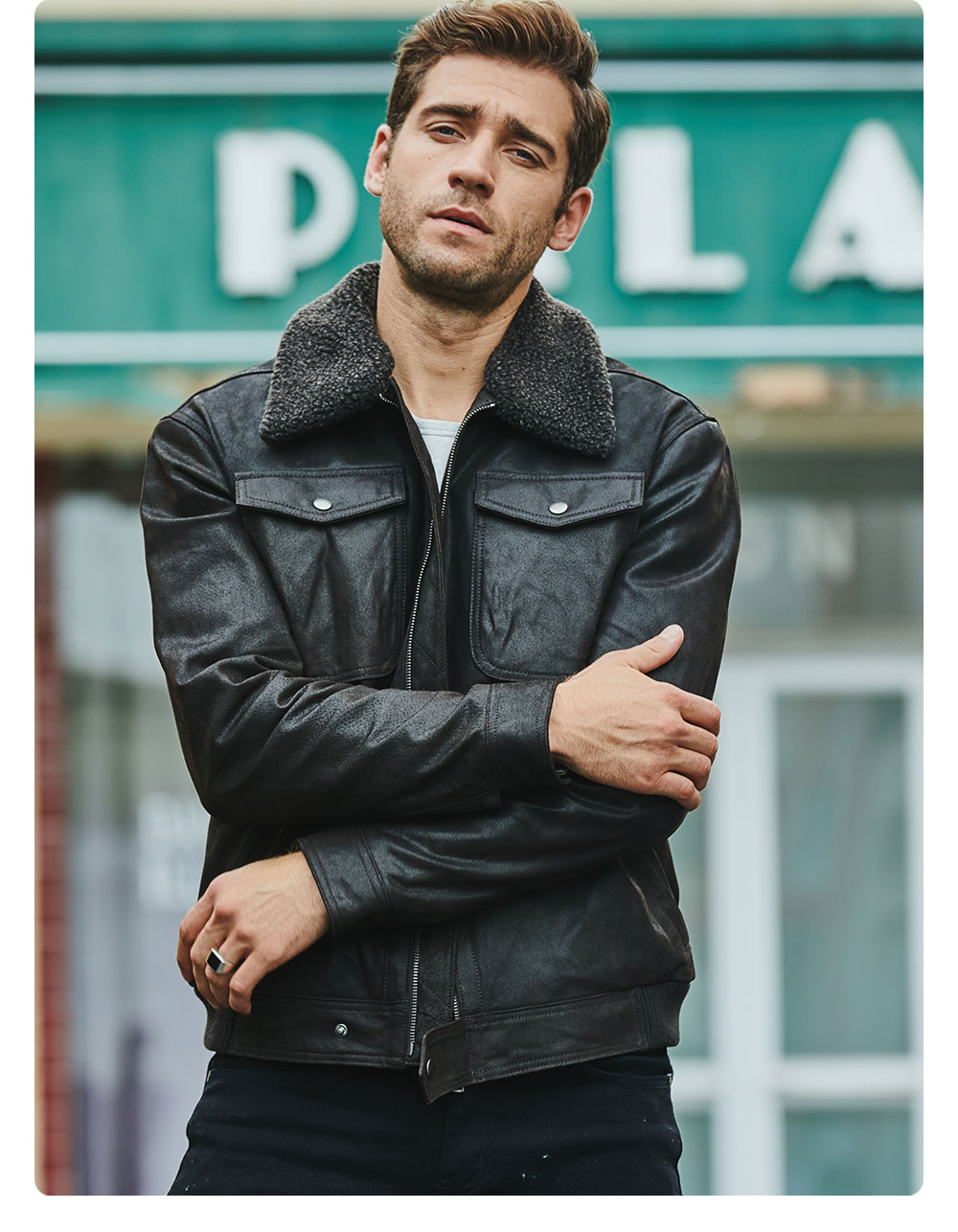 H8d5e64656d664dd189a11b1c8e59882aR FLAVOR Men's Real Leather Jacket Genuine Leather jacket with faux fur collar male Motorcycle warm coat Genuine Leather Jacket