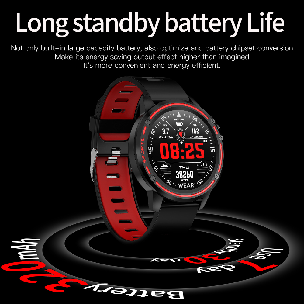 H8d5e69d168184d6a8a40d0c71c4627ebX L8 Smart Watch Men Fitness Tracker Heart Rate Blood Pressure Monitoring Smart Bracelet Ip68 Waterproof Sports Smartwatch