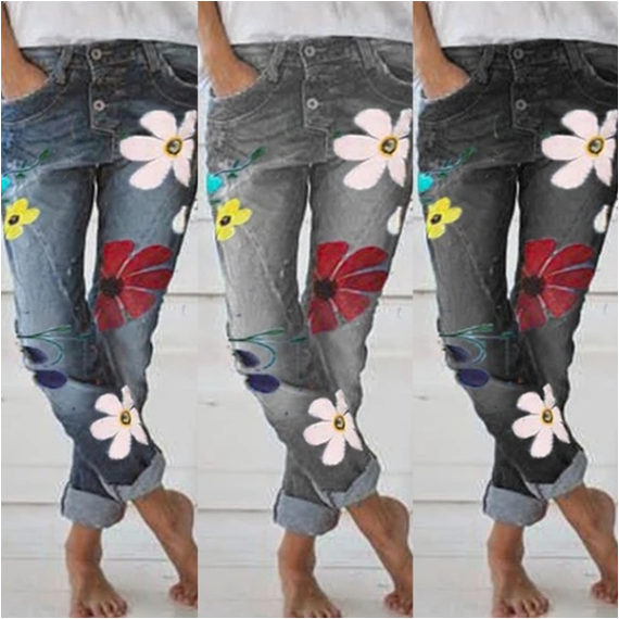 Fashion   Jeans   Woman Flower Printing Slim   Jean   Femme Casual Pencil Pants