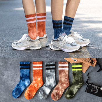 qiu dong knee-high socks flat tube street parallel bars in cotton tie-dyed stockings wholesale network red sox