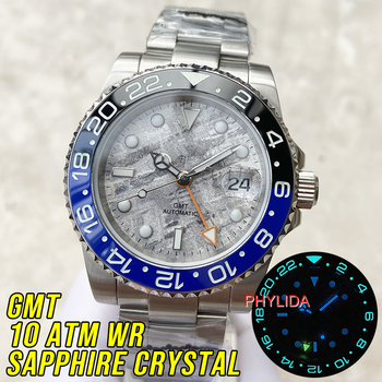 Top Brand PHYLIDA 100M Water Resistant GMT Dual Time Batman Meteorites Texture Dial Automatic Men's Watch Sapphire