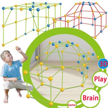 Budowa 3D Fort budynek zamki tunele namioty zestaw DIY dom zabaw dla dzieci gra trenująca mózg zabawki dla dzieci urodziny szkoła prezent tanie i dobre opinie CN (pochodzenie) Natura Niepowlekany Domki Z tworzywa sztucznego Łatwe do złożenia Ekologiczne FLEXIBLE FUN FOR BOYS AND GIRLS