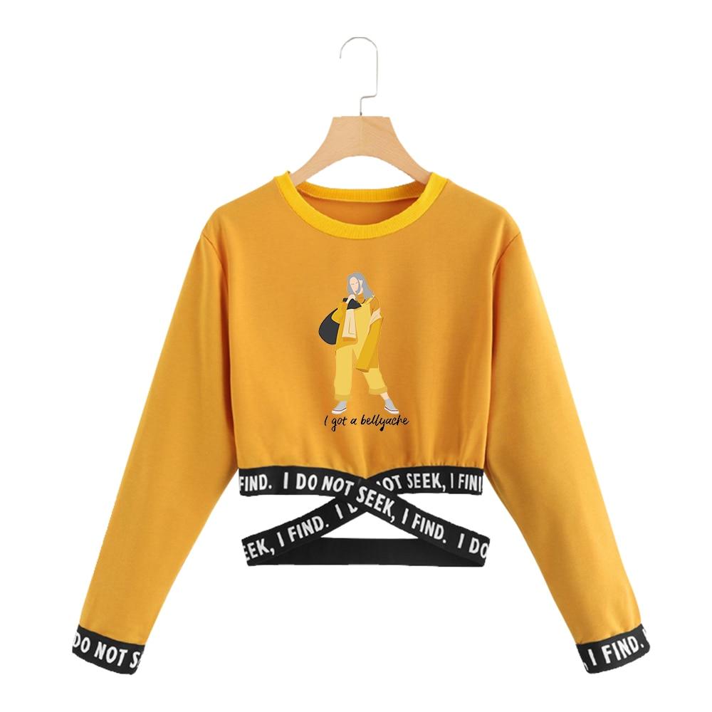 2019 New Billie Eilish Female Cropped Navel Round Neck Sweatshirt Women Cotton Sweatshirt Sexy Crop Top Clothes