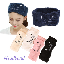 Women stretch Hair band Adjustable Coral Fleece Soft Makeup Headbands For Girls Cat Velcro Hair Bands Wrap Turban Hair Accessor