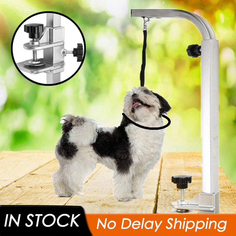 1Pc Portable Pet Dog Suspension Grooming Bath Steel Table Desk With Restraint Rope Beauty Adjustable Table Arm Support Holder