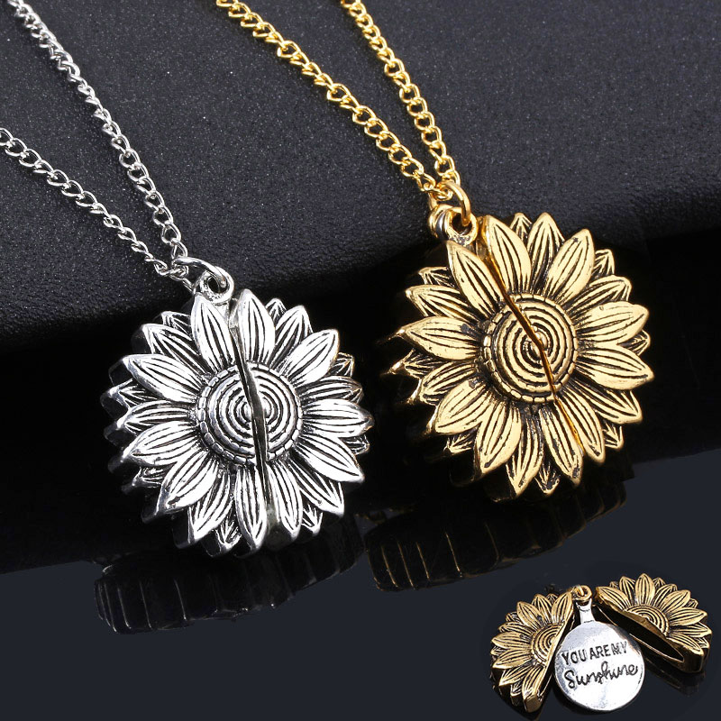 Sunflower Woman Necklace You are my sunshine Open Locket Double layer Engraved Letter Pendant Necklace Jewelry|Pendant Necklaces|   - AliExpress