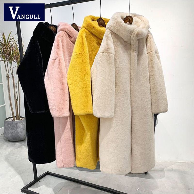 Vangull Winter Women High Quality Faux Rabbit Fur Coat Luxury Long Fur Coat Loose Hooded OverCoat Thick Warm Female Plush Coats