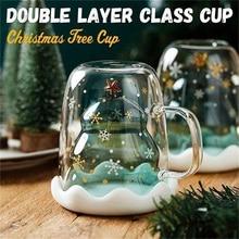 Горячие рождественские дерево стеклянная чашка с двойными стенками стекло, снежинка анти-обжигающие изолированные кофейные кружки LSK99