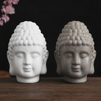 Sandstone Resin Buddha Head Crafts Ornaments Home Porch Living Room Decoration Buddha Statue Table Decor Buddhist Worship Item