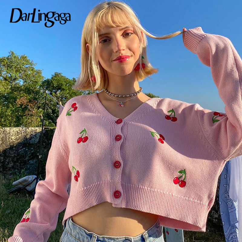 Darlingaga V Neck Cherry Embroidery Pink Autumn Cardigans for Women 2020 Cropped Knitted Sweater Fashion Sweet Cardigan Coat New