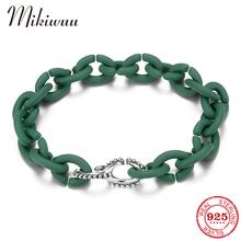 Original Silver Charm Metall Beads wtih Rubber X Link Chain Bracelets for Women SeaGreen Acrylic Bracelets Hip hop Jewelry cheap MIKIWUU Chain Link Bracelets 925 Sterling NONE Party TRENDY ROUND PX0276 Fine Boyfriend girlfriend family lover mother