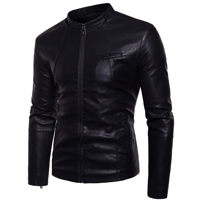AliExpress For Stand Collar Casual Large Size Thick Stand Collar PU Leather Coat Jacket Men'S Wear