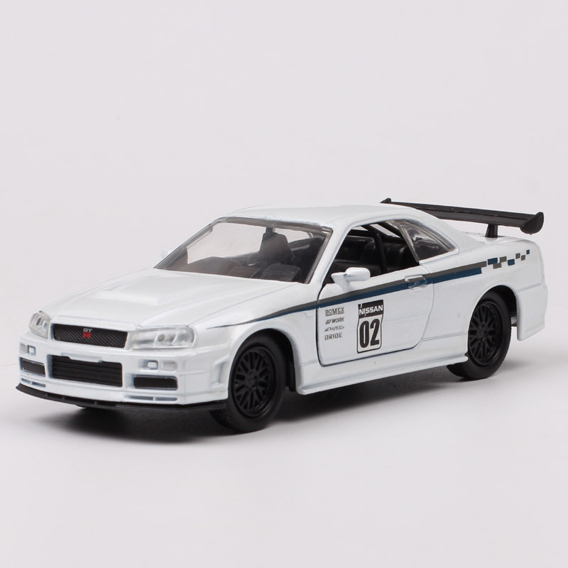 Jada Toys JDM Tuners 1:32 Scales Small 2002 Nissan Skyline GTR R34 Cars Racing Metal Diecasts & Toy Vehicles Model Of Children's
