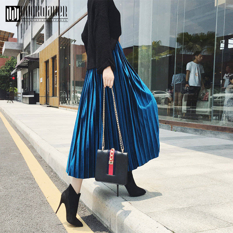 Duckwaver Spring 2020 Women Long Metallic Silver Maxi Pleated Skirt Midi Skirt High Waist Elascity Casual Party Skirt