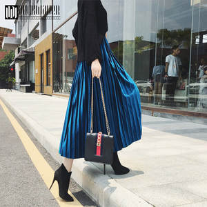 Duckwaver Pleated Skirt Maxi Metallic Long Elascity High-Waist Women Silver Casual Spring