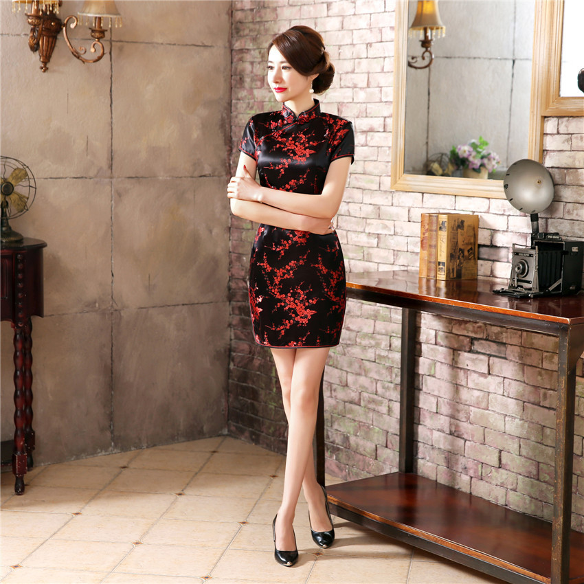 Classic Hand Made Button Women Qipao Sexy Slim High Slit Mini Chinese Dress Exquisite Dragon Phoenix Cheongsam PLUS 4XL 5XL 6XL