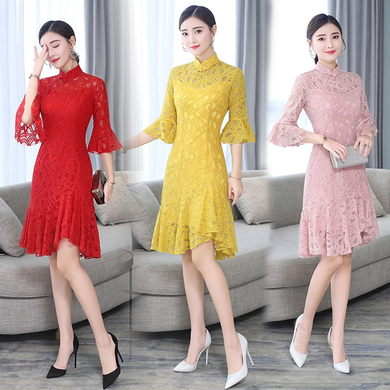 Spring And Summer New Style Improved Lace Cheongsam Dress Short Slim Fit Daily Life Banquet Middle-aged Women Dress Elegant WOME