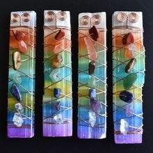 7 çakra şifa kristalleri taşlar boncuk tel sarılmış ham Selenite sopa değnek Yoga meditasyon, manevi, reiki dengeleme 4 adet