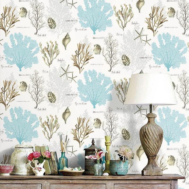 Bonne qualité algues corail coquille style méditerranéen papier peint chambre salon fond porche non-tissé papier peint